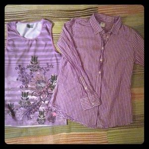 J.Crew Athleta Sz S/M Top and Button down Violet
